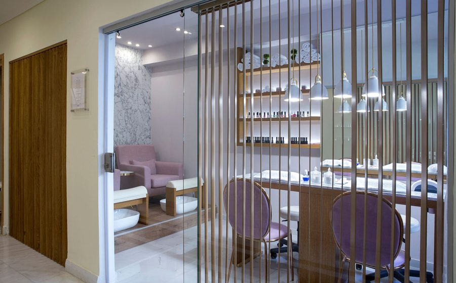 Glass doors of the spa salon