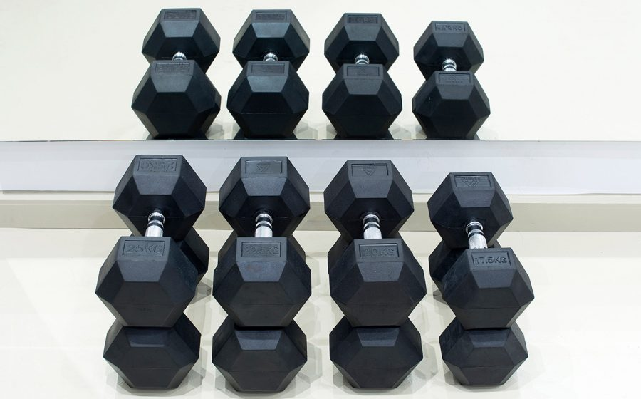 dumbbells neatly stacked