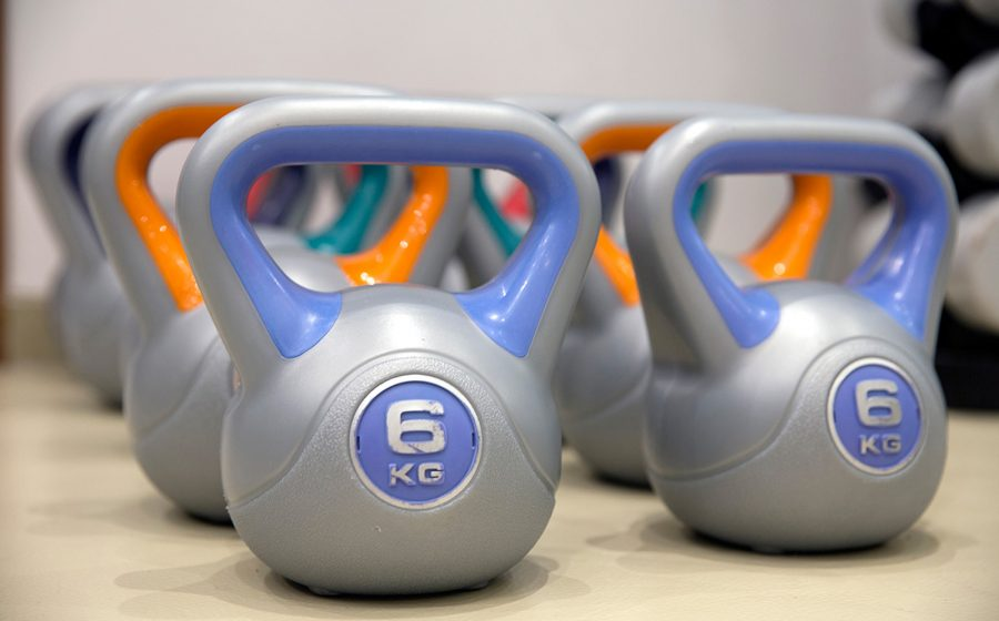 kettlebells on a row