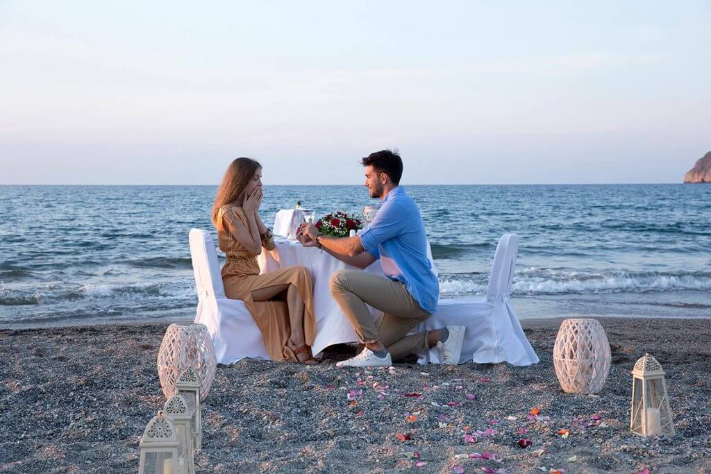Wedding proposal at the beach