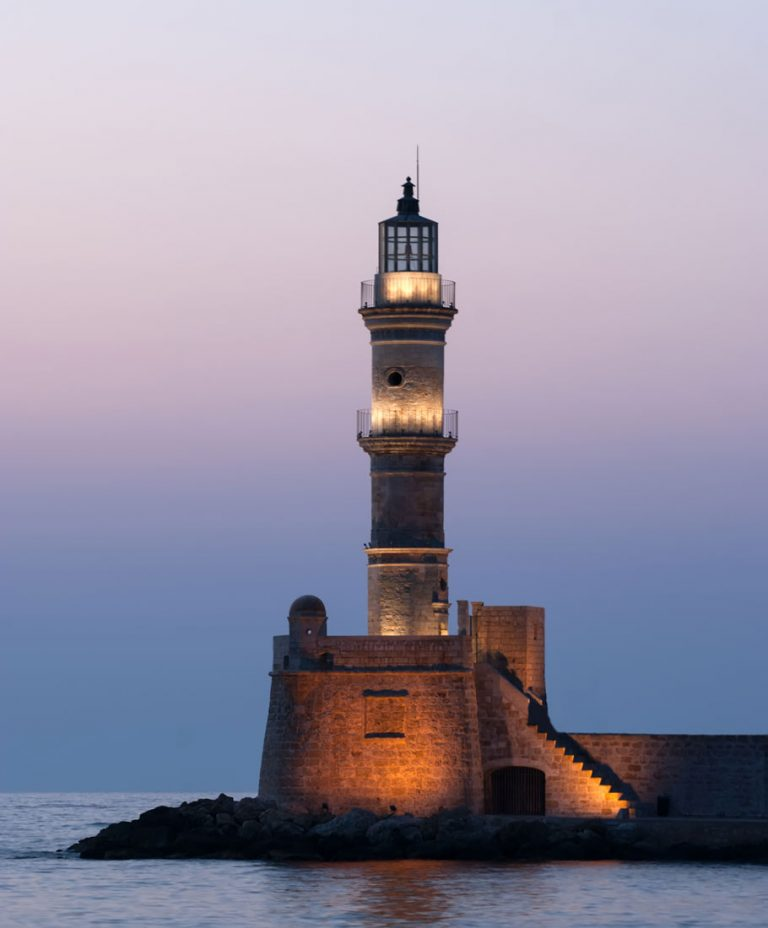 Lighthouse of Chania during sunset