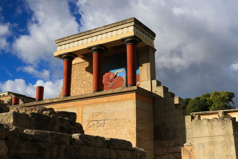 view of Knossos looking southwest from the north entrance